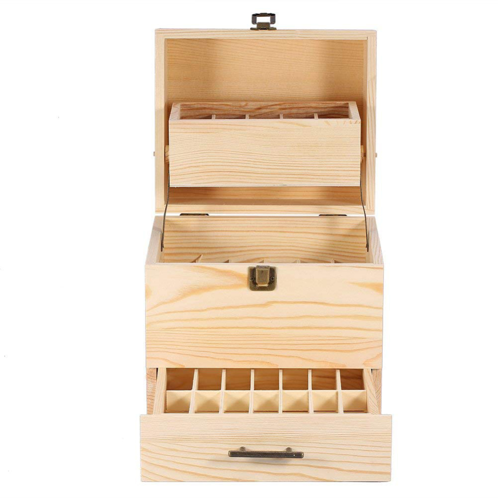 Boîte de rangement de maquillage à 3 niveaux boîte de rangement pour huiles essentielles boîte de rangement pour bouteilles d'huile en bois