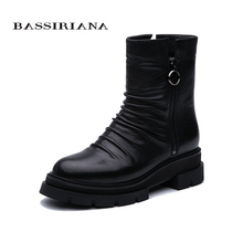 BASSIRIANA 2019 new womens winter boots genuine leather and rubber non-slip soles European fashion.
