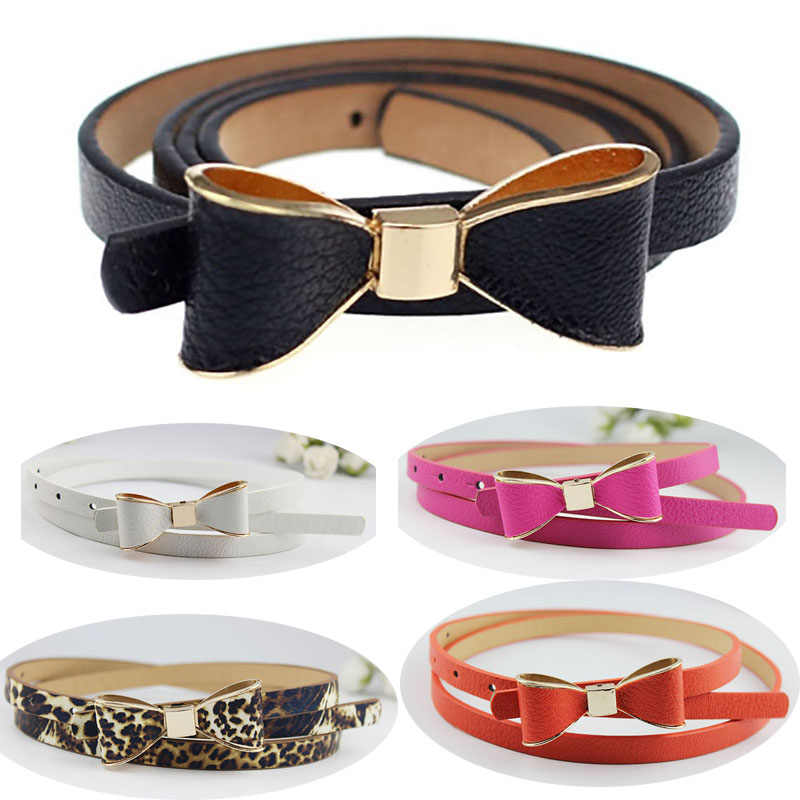 Women Leather Narrow Waistband Skinny Thin Buckle Waist Belt For Dress Clothing