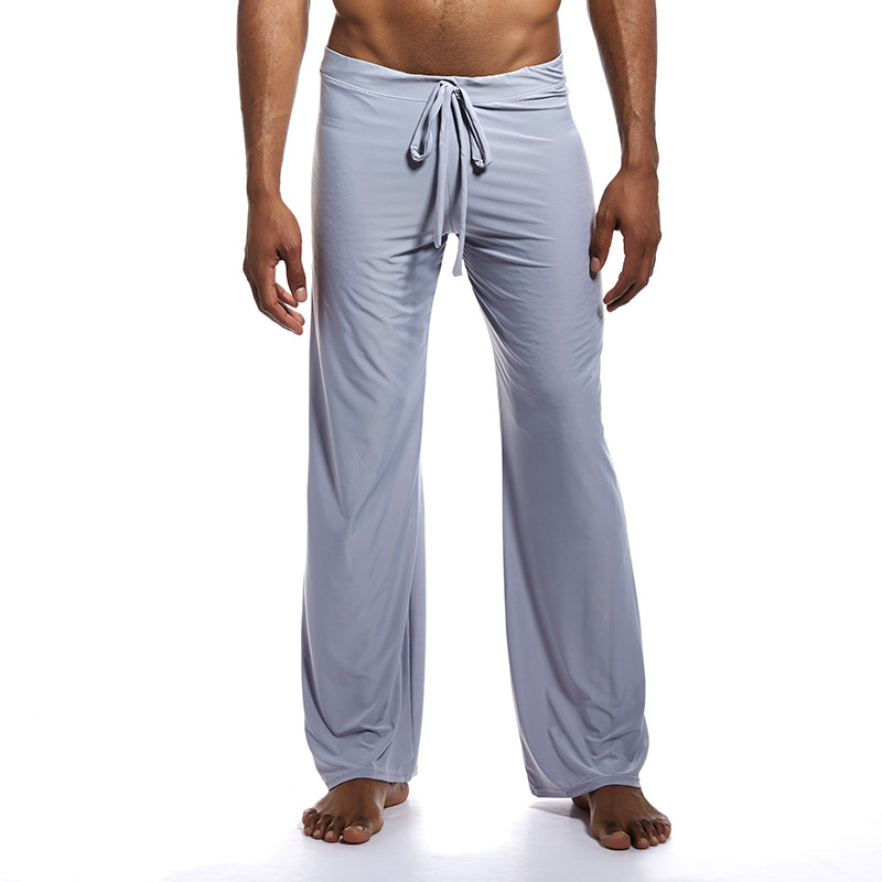 Men's Silky Sleep Bottoms with Drawstring Pajamas Lounge Pants Sleepwear Comfortable Male Summer Cool Home Pants Yoga Wear