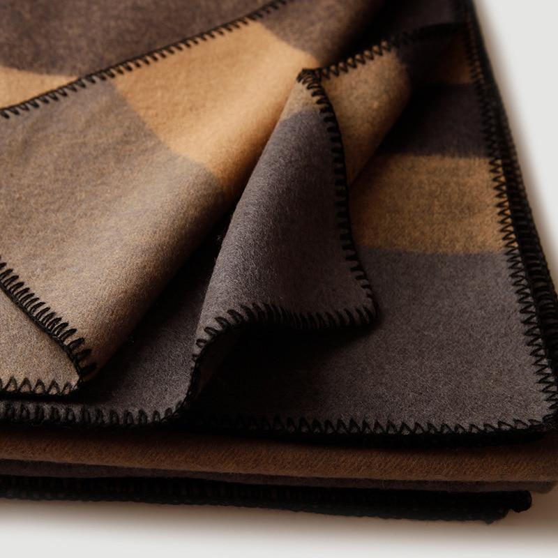 Чистое 100% шерстяное Клетчатое одеяло утяжеленное плотное высококачественное одеяло для пикника и путешествий Клетчатое одеяло с узором для кровати и дивана - 2