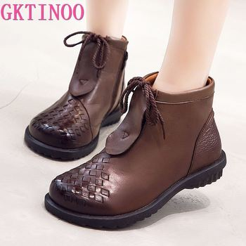 GKTINOO Genuine Leather Shoes Women Boots 2020 Autumn Winter Vintage Handmade Ankle Boots Soft Casual Flat Heels Shoes Woman