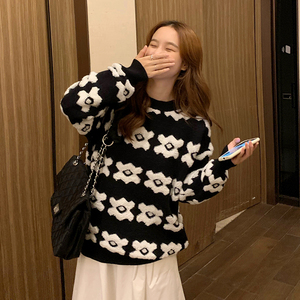 Image 5 - Streetwear Sweater Women 2020 Autumn Winter Cartoon Leopard Printed Covering Yarn Casual Oversized Knitted Black Pullover Sweate