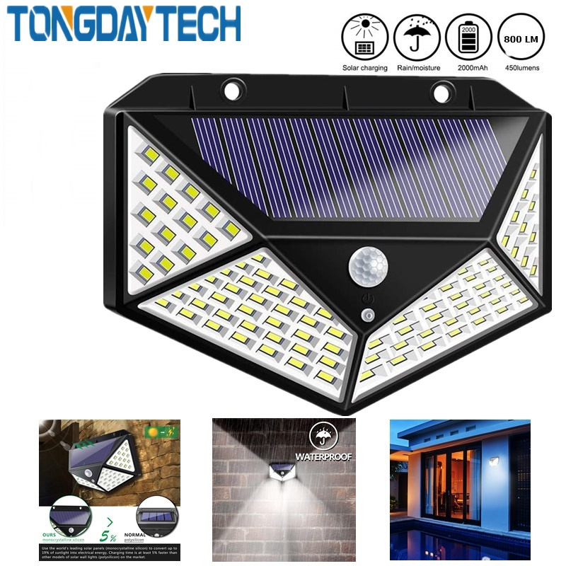100/114 LED Solar Light PIR Motion Sensor Outdoor 3 Modes Solar Wall Lamp IP65 Waterproof Energy Saving Security Garden Yard Lig
