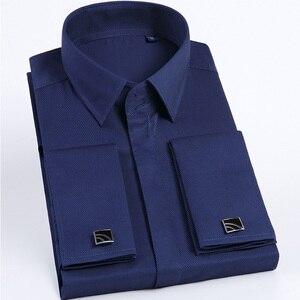 Image 3 - Jbersee Plus Size Homens Modas Francês Punho da Camisa De Luxo Homens Marca Slim Fit Casuais de Manga Comprida Vestido de Festa de Casamento Dos Homens camisas