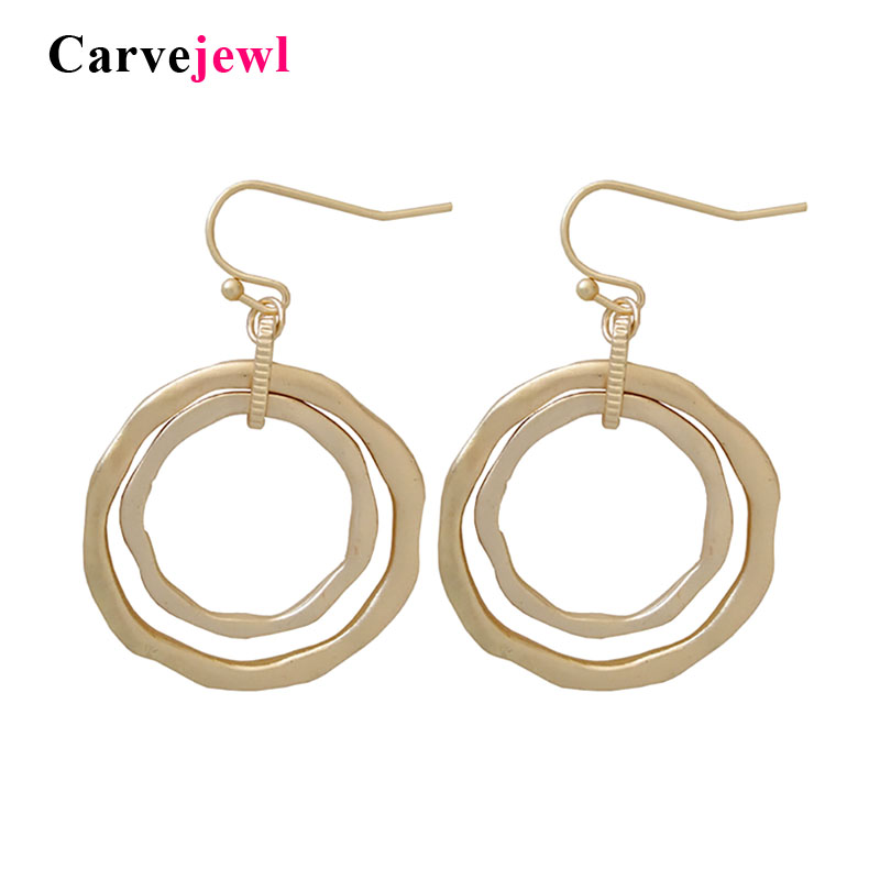 Carvejewl Korea new design Statement Earring For Women Ethnic simple Irregular Double Circle Pendant Drop dangle Earrings Gifts image