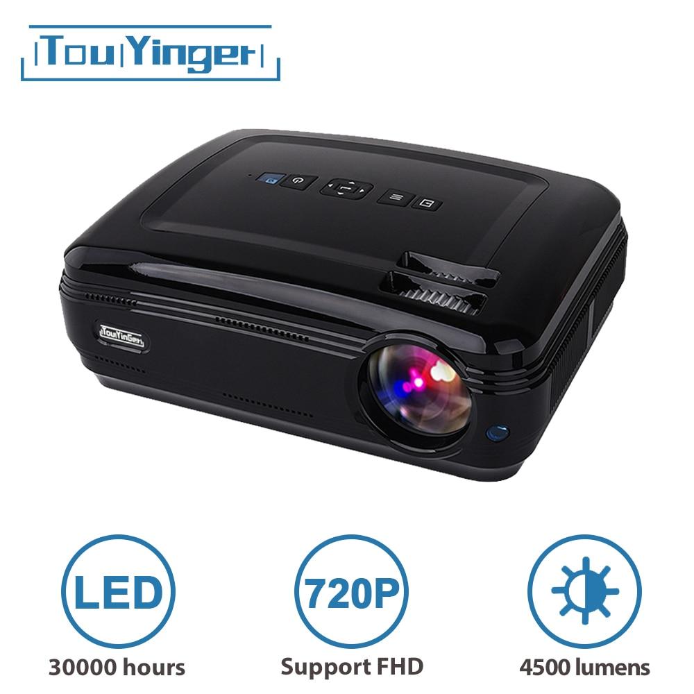Светодиодный проектор Touyinger T3, 4500 лм, 1280*768, LED HD ТВ проектор, поддержка 1080P Full HD видео проэктор , VGA USB HDMI 720P кинопроектор , проекторы домашний кин...
