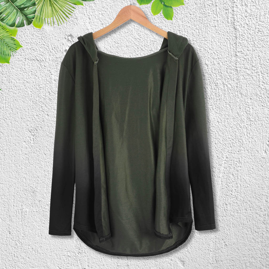 Hoody Cardigan Outwear Trench-Coat Jacket Long-Sleeve Solid Casual 1519 Blouse Gradient