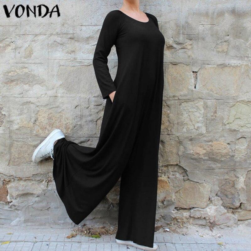 2019 Autumn VONDA Women Overalls Elegant Rompers Woman Jumpsuits Vintage Casual Loose Wide Leg Pants Long Playsuits 5XL Pantalon