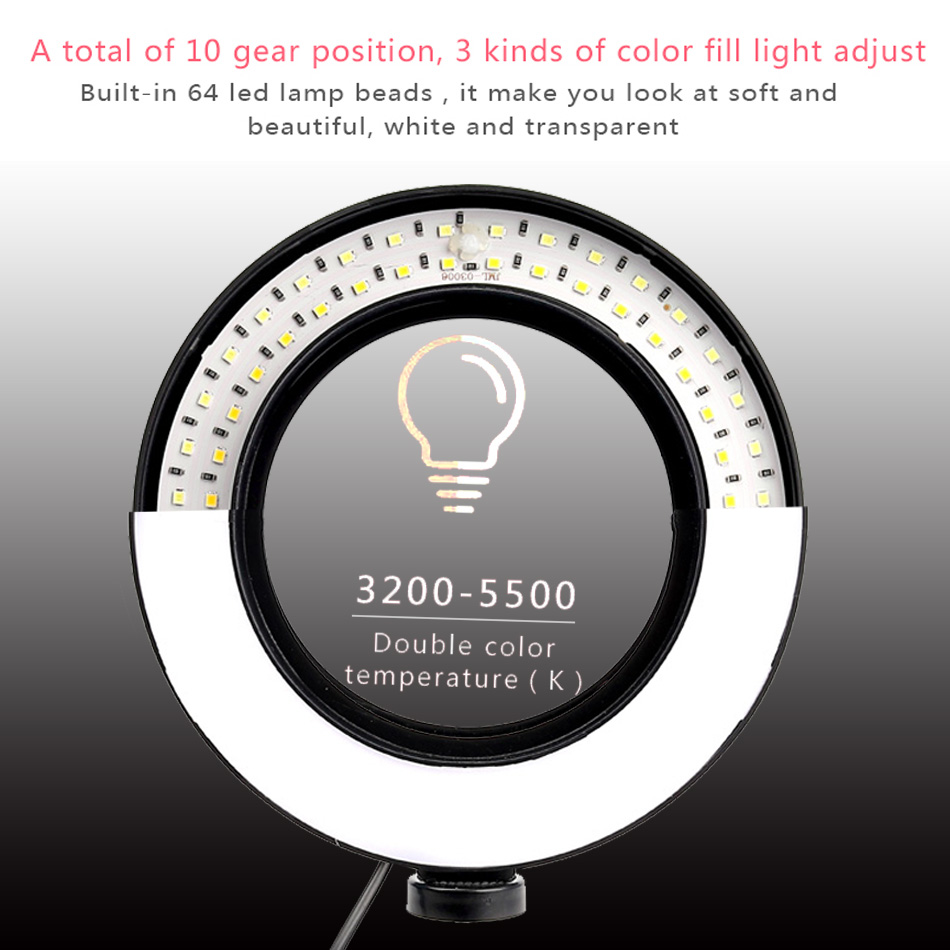 cheapest 26cm 16cm Selfie Led Ring Light Portable Mobile Selfie Lamp for Iphone huawei Clip Lampe Selfi Telephone Lens Photography Makeup