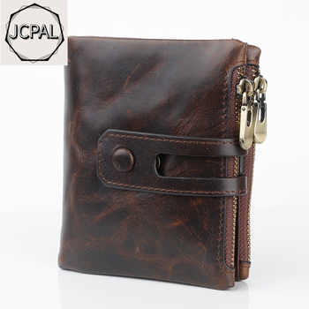 JCPAL luxury designer Genuine Leather Men Wallet Coin Purse Small Mini Card Holder Chain  Portomonee Male Walet Pocket - DISCOUNT ITEM  50% OFF All Category