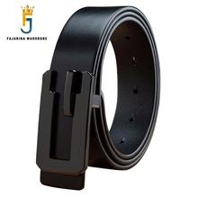 FAJARINA Unique Design Cow Skin Black Smooth Buckle Metal Belt Mens 100% Quality Cowhide Genuine Leather Belts Men N17FJ740
