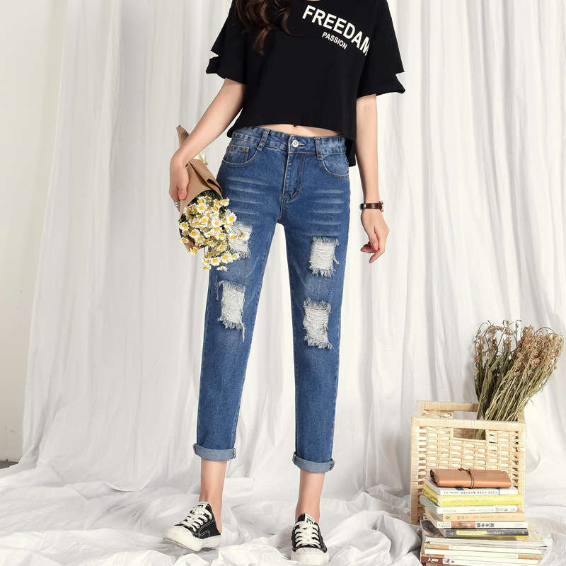 With Holes Straight-Cut Jeans Women's Capri Pants Summer Korean-style Students Loose-Fit Slimming