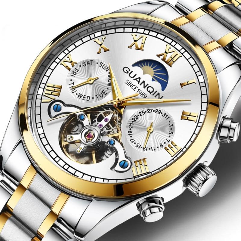 Guanqin Business Watch Men's Automatic Tourbillon Waterproof Men's Luminous Calendar Date Clock