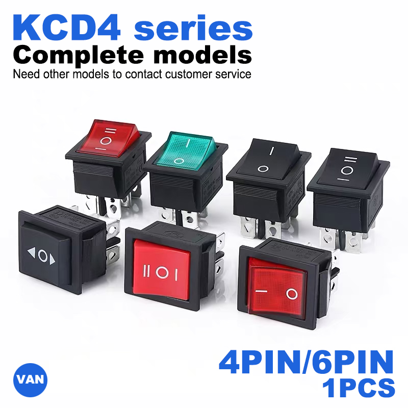 KCD4 Rocker Switch ON-OFF 2/3Position 4 Pins / 6 Pins Electrical Equipment With Light Power Switch 16A 250VAC
