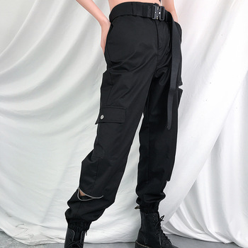 Zip multiple pockets gothic pants flare pants loose office party classic high waist casual pants female plus size bottoms фото