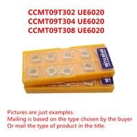 Mitsubishi ccmt09t302 ue6020/ccmt09t304 ue6020/ccmt09t308 ue6020 cnc precisa carboneto chato inserções originais frete grátis