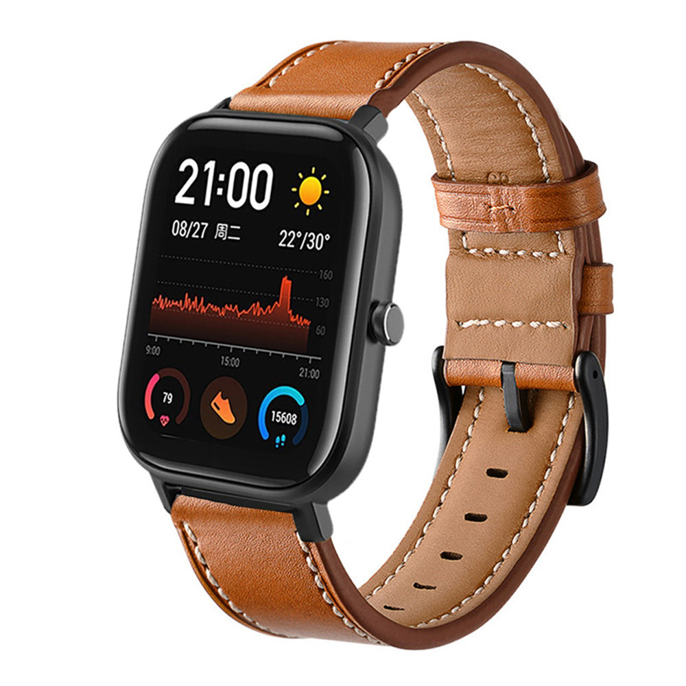 Genuine Leather Strap For Huami Amazfit Bip Bit Lite For Amazfit Gts Smart Watch Wrist Band For Amazfit Bip Strap Watch Band