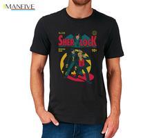 Sherlock Holmes Comic T Shirt Top Retro Vintagecot Ton Men Summer Casual Cotton Tee Fashion