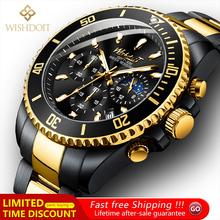 WISHDOIT 2021 nowych mężczyzna przypadkowi sportów zegarek Top luksusowa marka mężczyzna zegarka wodoodporna świecenia ze stali nierdzewnej męska Wrist Watch tanie tanio 8 66inch Moda casual QUARTZ NONE 3Bar Klamerka z zapięciem CN (pochodzenie) STOP 14mm Hardlex Kwarcowe zegarki Papier