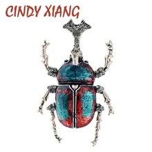 Cindy xiang nova chegada strass bug broches para as mulheres esmalte besouro pino de inseto vívido broche 2 cores disponíveis