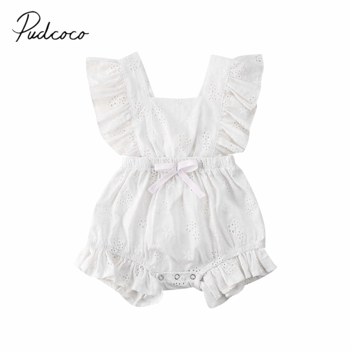 2020 Baby Summer Clothing Infant Newbonr Baby Girl Romper Ruffled Hollow Out Breathable Jumpsuits Sleeveless Solid White Sunsuit