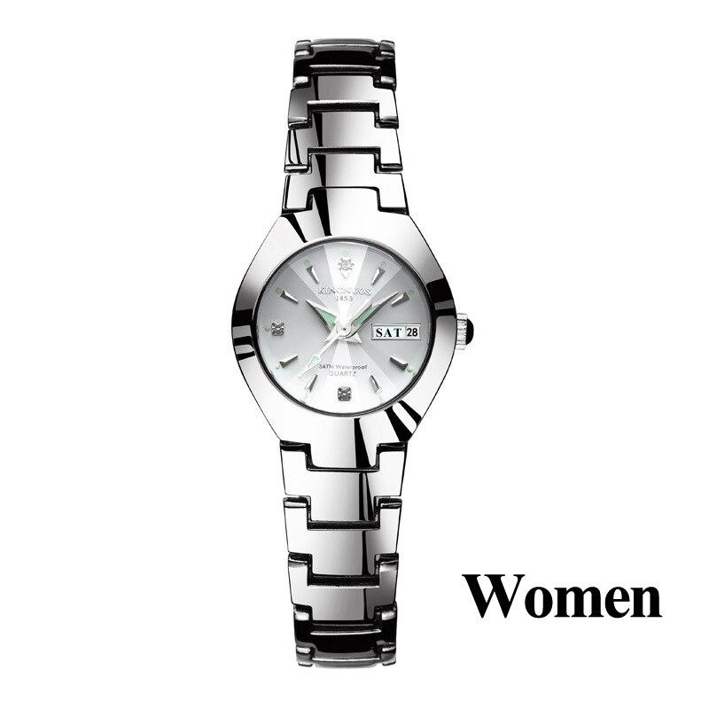 Часы для влюбленных Роскошные Кварцевые наручные часы для мужчин и женщин Hodinky Dual Calender Week steel Saat Reloj Mujer Hombre парные часы - Цвет: Women Silver White