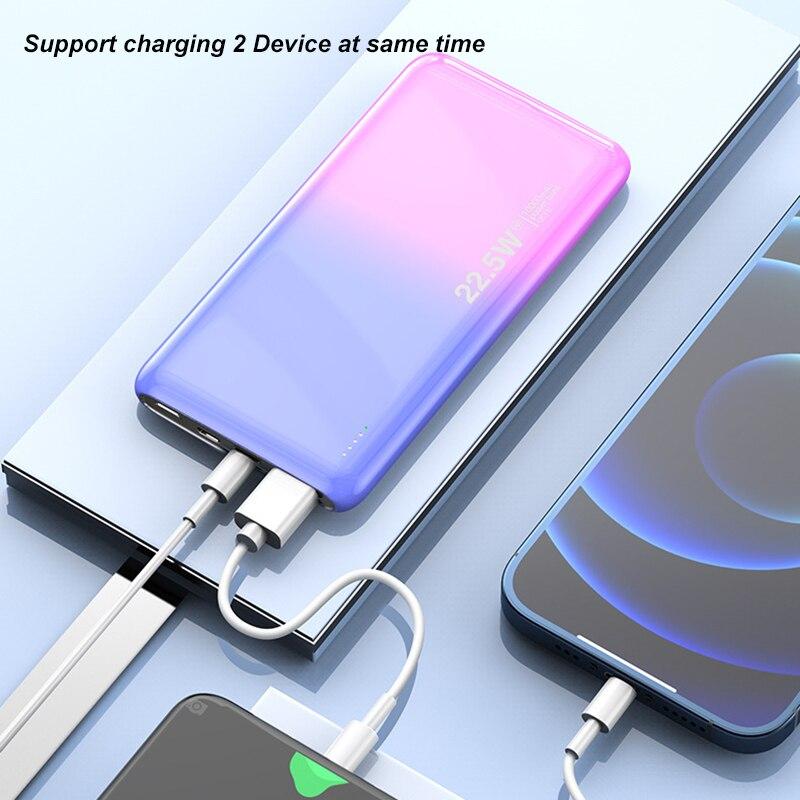 10000 мА/ч, ультра тонкий мини Мощность банк PD20W 22,5 Вт быстрой зарядки Мощность банка для смарт мобильный телефон аккумулятор