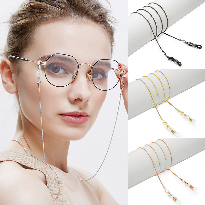 Очки с цепочкой, золотые, серебристые, черные солнцезащитные очки, шнур, ремешок, металлическая веревка, аксессуары для очков, подарок для женщин, девушек, Нескользящие, гладкие|Аксессуары для очков| | - AliExpress