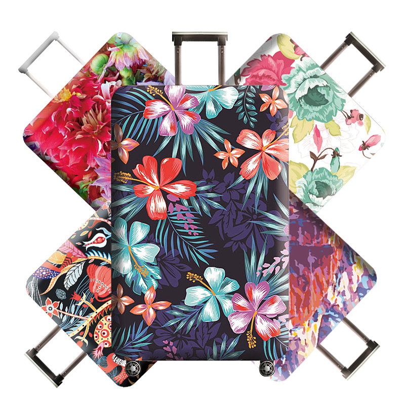 Floral Travel Luggage Cover Protective Suitcase Case Elastic Fabric Baggage Protector Dust Cover For 18-32 Inch Trip Accessories