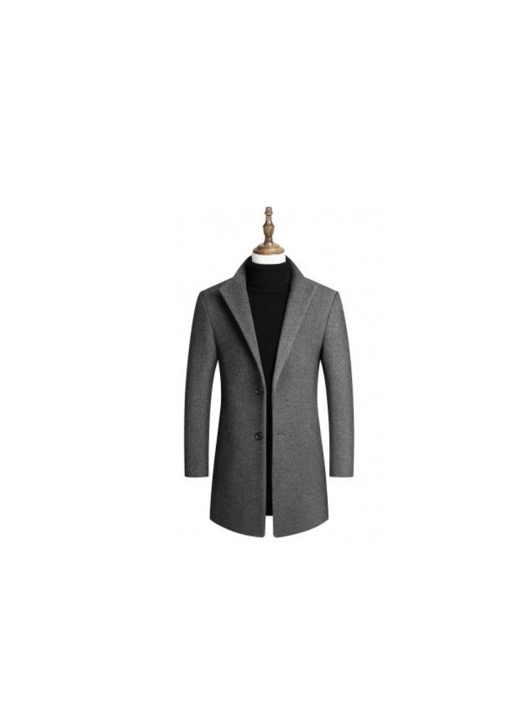 2019 Fengyue wool woolen coat medium length thickened cotton new winter men's coat lapel business leisure