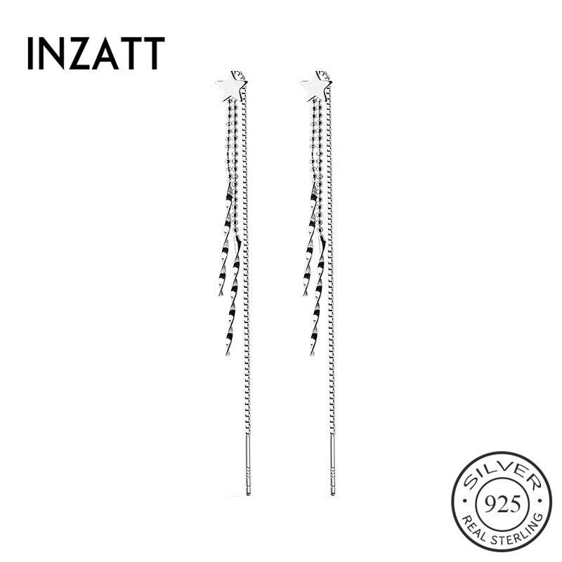 INZATT Real 925 Sterling Silver Star Long Tassel Drop Earrings For Fashion Women Wedding Party Cute Fine Jewelry Accessories