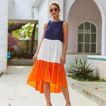 Solid Color MAXI Dress 2019 Sleeveless Pleated Loose Casual Beach Office Robes Fixed Navy Blue and White Women Dresses Vestidos