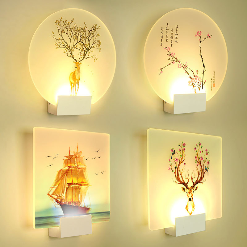 Artpad 8W Modern Romantic Loveliness Classic Picture Wall Lamp Bedside Bedroom Stair Corridor Porch Led Nordic Home Wall Light