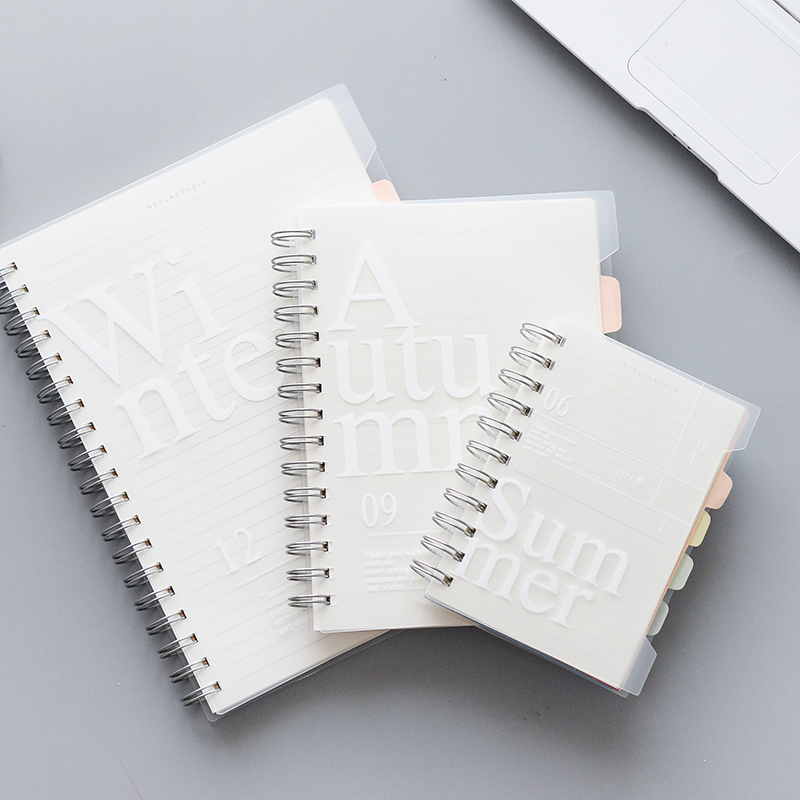120 Sheets B5/A5/A6 Notebook Double Coil Loose-Leaf Memo Pad PP Cover Pocket Book Blank Grid Horizontal Line Inside Page Planner