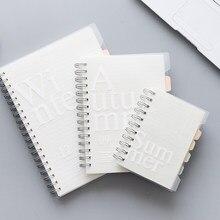 120 folhas b5/a5/a6 caderno bobina dupla solta-folha almofada de memorando pp capa bolso livro em branco grade linha horizontal dentro da página planejador