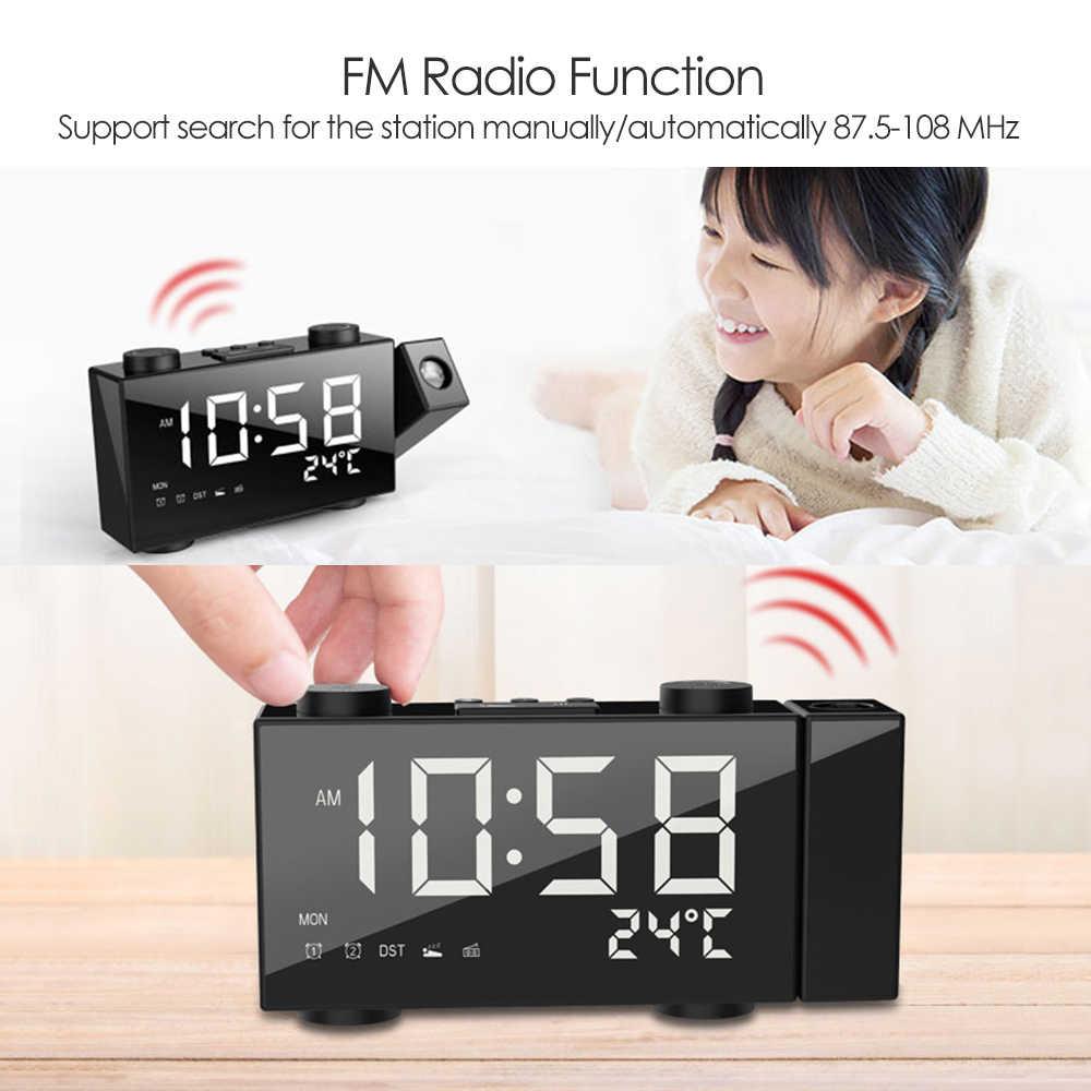6 بوصة الرقمية FM الإسقاط راديو بساعة منبه USB/Batterys الطاقة LED يعرض ساعة مزدوجة مع منبه مع غفوة ميزان الحرارة