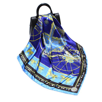 Women Fashion Square Scarf Bandana Vintage Carriage Print Shawl Hijab Imitate Silk Soft Satin Kerchief 35x35 / 90x90cm stylish flags and newspaper print soft bandana scarf for women