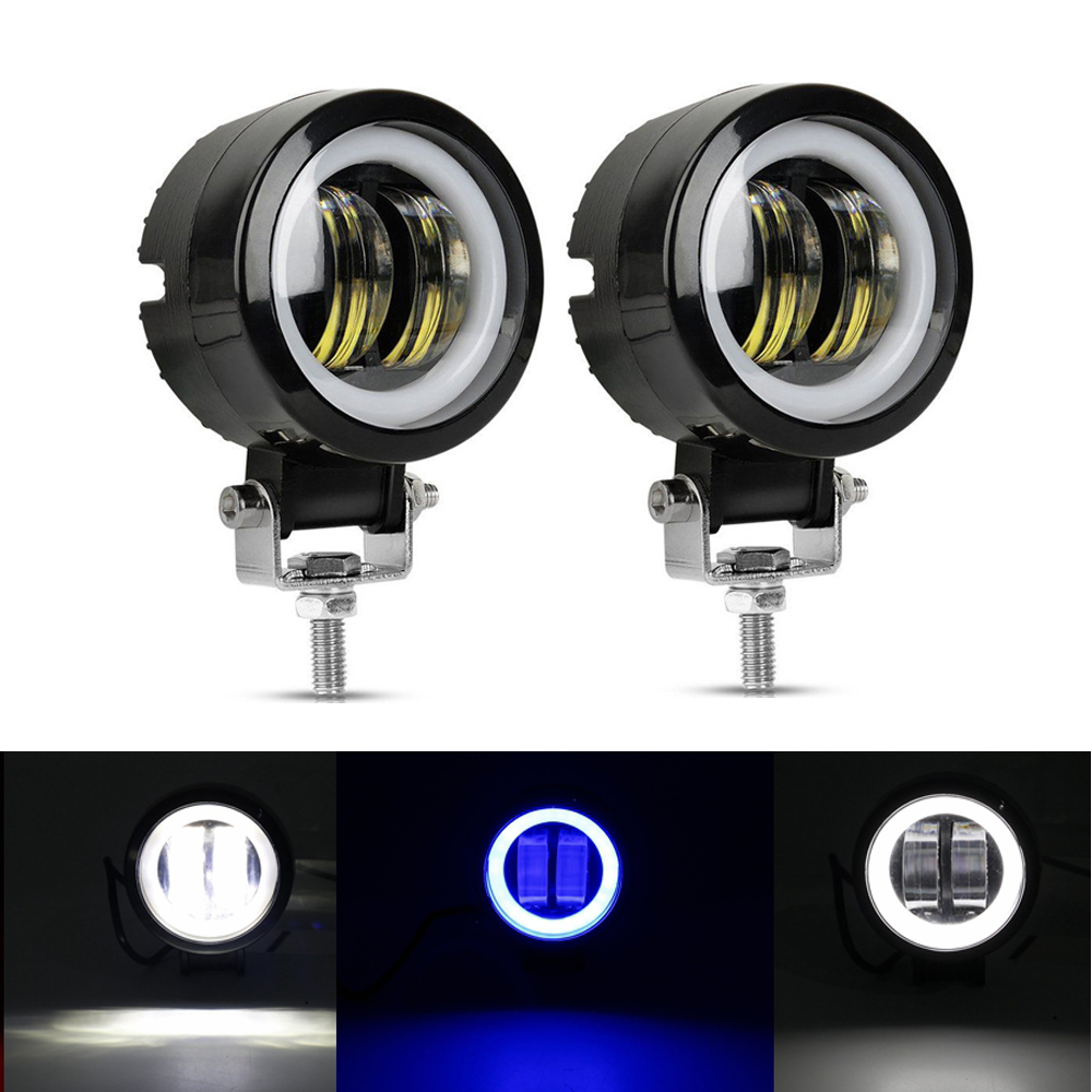 2PCS 3Inch 20W 12V 24V 6500K Waterproof Round LED Night Bar Lights Portable Spotlights Motorcycle Offroad Truck Driving Car Boat