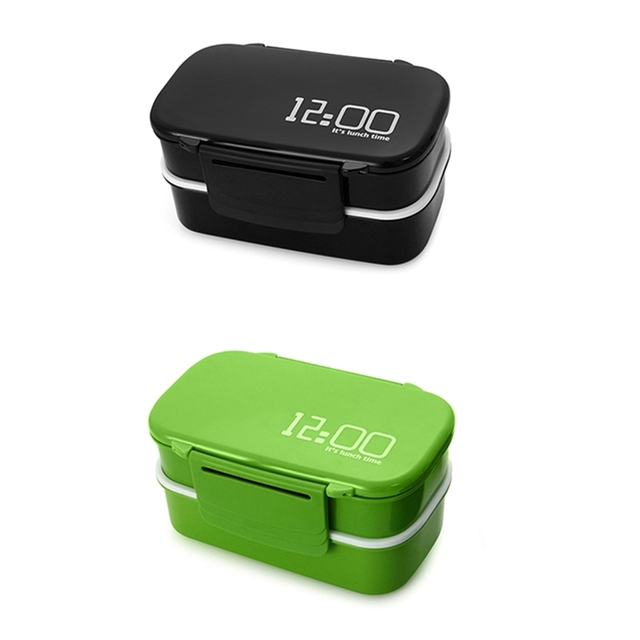 2x 1400Ml Double Layer Plastic Lunch Box Microwave Oven Bento Box Food Container Lunchbox BPA Free Green & Black