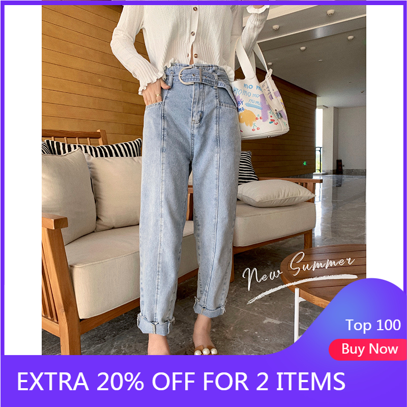 MISHOW 2020 Summer New Jeans Women Casual Demin Pants Fashion High Waist Trousers Female MX20B2130