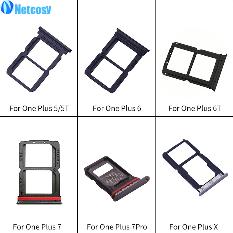 Netcosy Black SIM Card Tray Replacement Parts SIM Card Slot Tray Holder For Oneplus 5 A5000 5T A5010 6 A6000 6T A6010 7 Pro X
