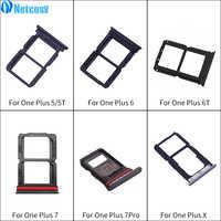 Suporte preto da bandeja do entalhe do cartão do sim das peças de substituição da bandeja do cartão de netcosy para oneplus 5 a5000 5 t a5010 6 a6000 6 t a6010 7 pro x
