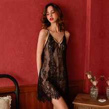 Yhotmeng nightdress for women sloth sleepwear 네트 원사 nightie skirt see-through suspender set 여성용 유혹 오픈 백(China)