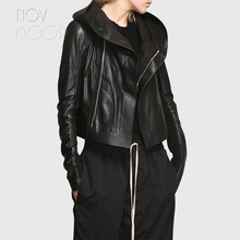 Coat Motorcycle-Jacket Women Genuine-Leather Sheepskin Black Hooded Knit-Panel At-Sleeves