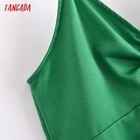Tangada Women Green Mini Dress Strap Adjust Sleeveless 2021 Fashion Lady Dresses Vestido QN126 4
