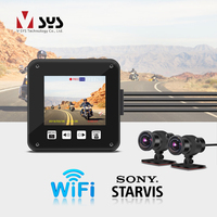 Otomobiller ve Motosikletler'ten DVR/Dash Kamera'de SYS VSYS A6X WiFi motosiklet eylem kamera kaydedici Dash kamera çift 1080P SONY IMX307 Starvis gece görüş bisiklet kaskı kamera