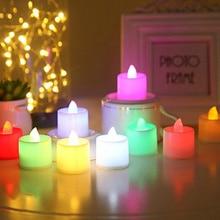 Батареи в комплекте чайный свет мерцающий беспламенный светодиодный свечи Буги велы электрические свечи Chandelle Свадебные украшения