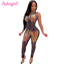 Adogirl Colorful Sequins Sheer Mesh Buttoned Jumpsuit Women Sexy V Neck Sleeveless Skinny Romper Night Club Party Overalls