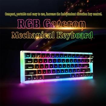 K66 66 key Mechanical Keyboard TYPE-C Wired USB RGB Backlit PMMA keycaps Gateron Switch Gaming Mechanical Keyboard PC Laptop